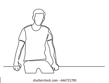 sitting young man - continuous line drawing