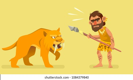 situation meeting primitive hunter and saber-toothed tiger. illustration for kids book. vector