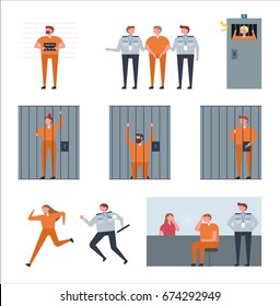 situation of prison vector illustration flat design