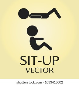Sit-up exercise vector pictogram.