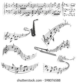 Six abstract musical scores./Curly musical scores.