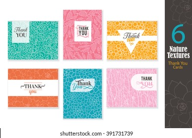 Six abstract natural textures thank you cards set with text design, pattern backgrounds perfect for any ocasion wedding, professional, birthday, aniversary, dinner party, baby shower,