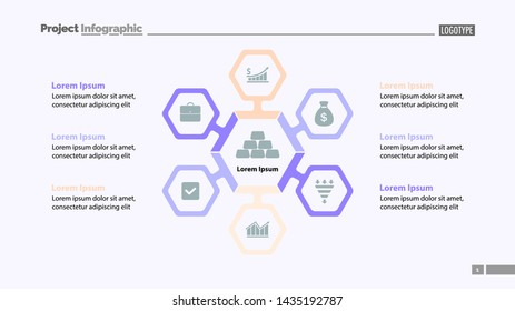 Six aspects of business slide template. Business data. Graph, chart, design. Creative concept for infographic, report. Can be used for topics like assets, market, finances