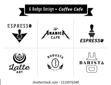 six badge design for coffee cafe vector illustration with arabica typography,espresso,coffee bean,barista,coffee fruits,latte art and coffee utensil