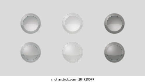 six badges with gray or silver color, three of them are inactive and three are active, vector illustration