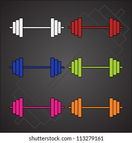 Six barbell vector image and contour. Blue, red, green, pink, orange and white. Colorful and bright