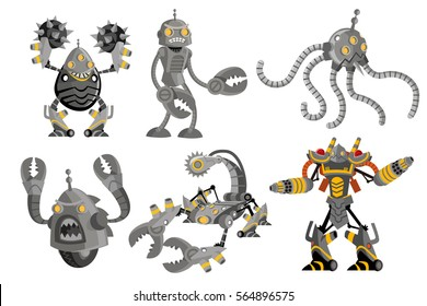 six battle robots spikeball pincers clamps tentacles scorpion saw and fireguard flamethrower drones