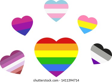 Six beautiful hearts in colors of the lgbt, bisexual, pansexual, lesbian, asexual and transgender flags, vector