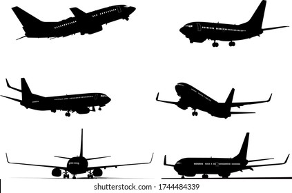 Six black and white Airplane silhouettes. One click color changed