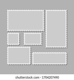 Six blank postage stamps, vector templates with place for your images and text