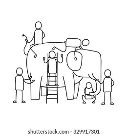 Six Blind Men and the Elephant, Suitable for Education and Business Concept.
