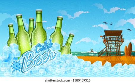 Six bottles of beer in ice cubes with beach landscape