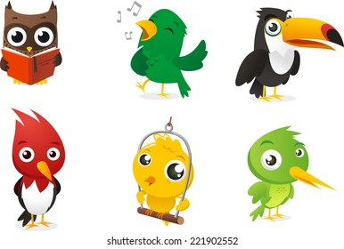 Six Cartoon full color birds set, with owl, parrot, toucan and woodpecker vector illustration.