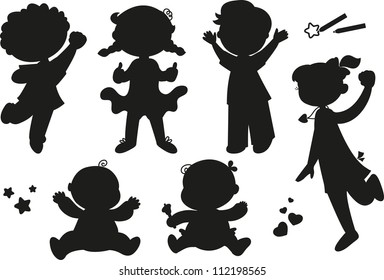 Six children exulting happily: boys, girls and babies. Black silhouettes.