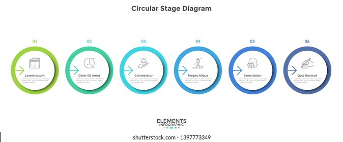 Six circular paper white elements placed in horizontal row. Concept of 6-stepped strategic business process. Simple infographic design template. Modern vector illustration for report, progress bar.