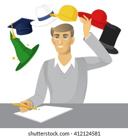 Six color Hats. A modern system of thinking. Vector illustration of a businessman making decision