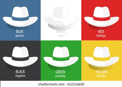 2a84fb49371e6 Six color Hats. Vector illustration for a modern system of thinking for  business