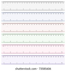 Six color rulers on white background. Vector illustration.