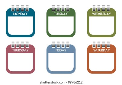 Six colorful calendar sheets with the days of the week