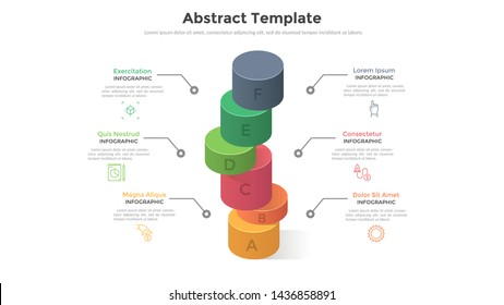 Six colorful cylindrical elements put one on another. Concept of 6 stages or levels of marketing strategy. Modern infographic design template. Volumetric vector illustration for presentation, report.