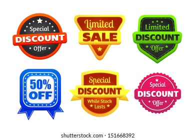 Six colorful discount and limited sale badges made in vector. Red, orange, yellow, brown, blue, black, white, and pink colors used.