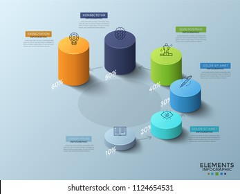 Six colorful isometric cylinders of various height with linear icons on top and percentage indication placed around circle and connected by arrows. Infographic design template. Vector illustration.