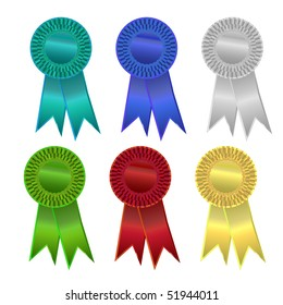 Six colorful ribbons or rosettes