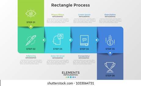 Six colorful square elements with thin line symbols inside and pointers connected into row. Concept of 6 successive steps of strategic plan. Creative infographic design template. Vector illustration.