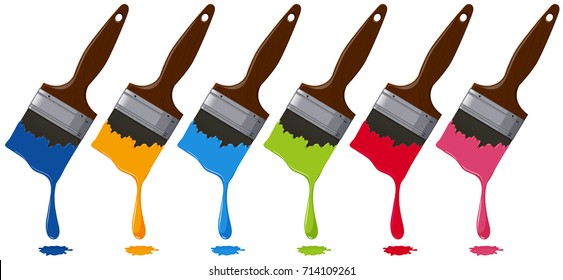 Six colors on paintbrushes illustration