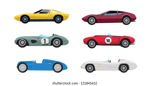 Six colourful vector old cars from a side view on a white background