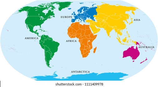 Six continents world, political map. America, Africa, Antarctica, Asia, Australia and Europe, with shorelines and borders. Robinson projection. English labeling. Isolated on white background. Vector.