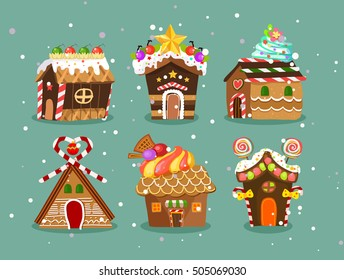 six cute christmas gingerbread house with candy and decorations