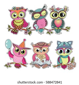 Six cute colorful cartoon owls sitting on tree branch with flowers. Funny sticker of birds on white background. Can be used for birthday cards, invitations, print, textile.