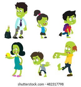 Six cute funny zombie isolated on white background. Zombie adults and children. vector illustration.