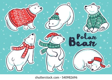 Six cute hand drawn polar bear set in red and green sweater, scarf and hat. Vector illustration