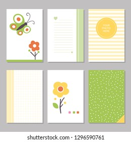 Six cute notebook covers and pages with yellow and green flowers and butterflies