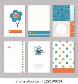 Six cute notebook covers and pages with blue and orange flowers and butterflies
