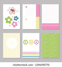Six cute notebook covers and pages with pink, green, and yellow flowers and butterflies