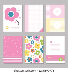 Six cute notebook covers and pages with pink, green, yellow and blue flowers