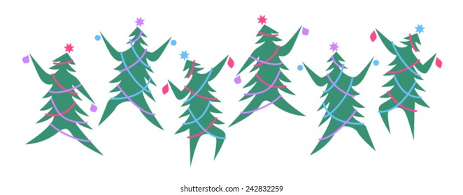 Six dancing Christmas trees