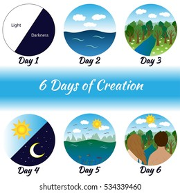 Six days of Creation. Bible creation story pictures.Vector illustration.