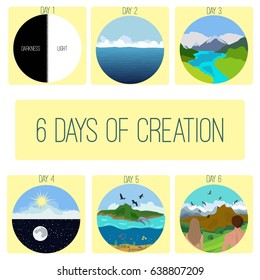 Six days of Creation. Genesis.  Bible creation story pictures.Infographics. Vector illustration.
