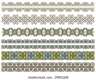 six decorative lines, vector