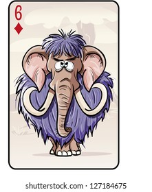 Six of diamonds playing card with a mammoth. Vector illustration.