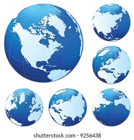 Six different blue and white globesSix different blue and white globes. All parts of image are editable. Use gradient mesh. No transparency.