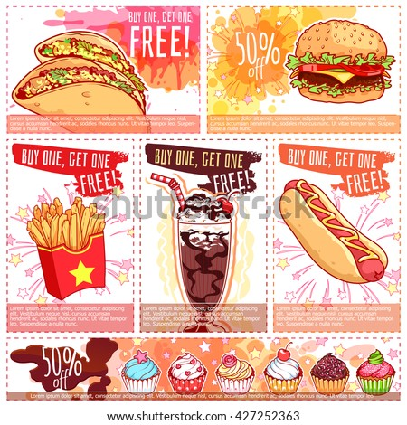 Six Different Discount Coupons Fastfood Dessert Stock Vector