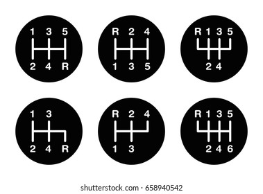 Six different gear stick shift patterns. Positions for the gear lever, also called gearshift or shifter. Five-speed and six-speed patterns on a knob. Black and white illustration over white. Vector.
