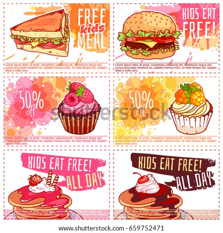Six Different Kids Discount Coupons Fastfood Stock Vector Royalty