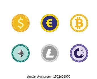 Six different kinds of coins: dollar, euro, bitcoin, ethereum, litecoin and trac coin