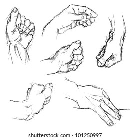 six different positions of hand, hand drawing vectorized